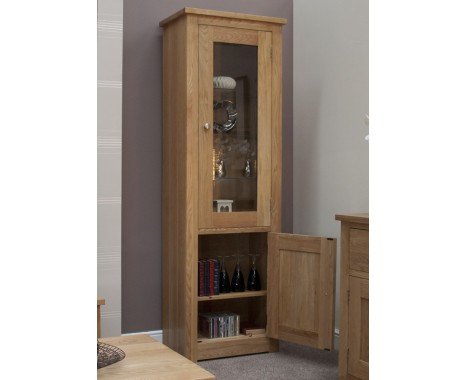 Reno Oak Glazed Single Display Cabinet