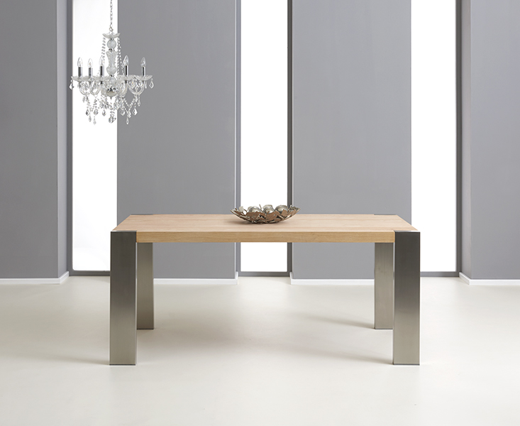 An image of Soho 180cm Oak and Metal Extending Dining Table