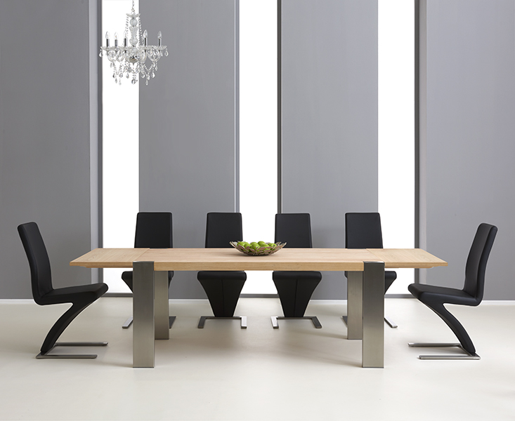 Soho 180cm Solid Oak and Metal Extending Dining Table with Hampstead Chairs