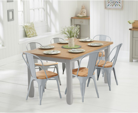 Somerset 130cm Oak and Grey Dining Table with Tolix Industrial Style Oak and Grey Dining Chairs