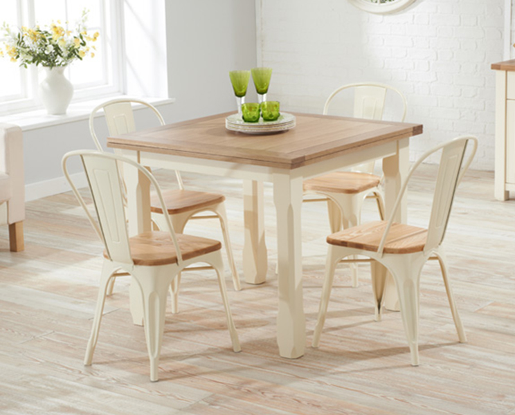 Somerset 90cm Flip Top Oak and Cream Dining Table with Tolix Industrial Style Oak and Cream Dining C
