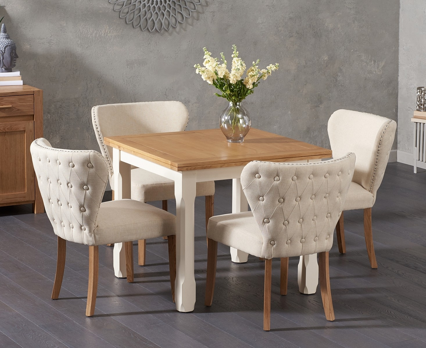 62 off somerset 90cm flip top oak and cream dining table for Table design 90 cm