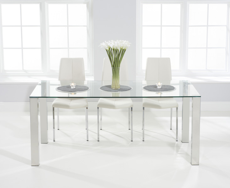 Sophie 180cm Glass Dining Table with Cavello Chairs