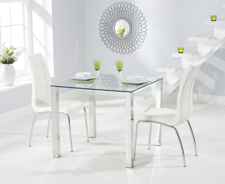 Sophie 90cm Glass Dining Table with Calgary Chairs