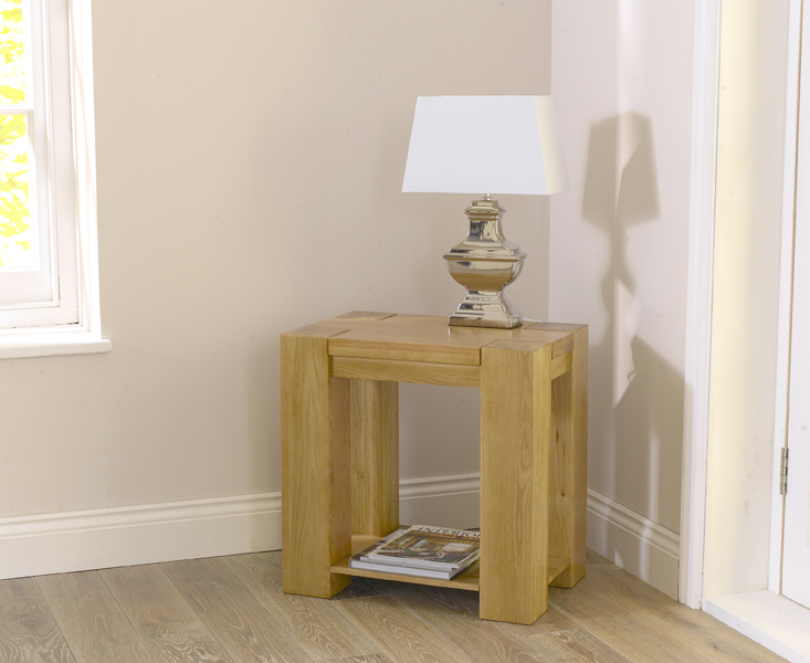 Product photograph showing Thames Oak Lamp Table