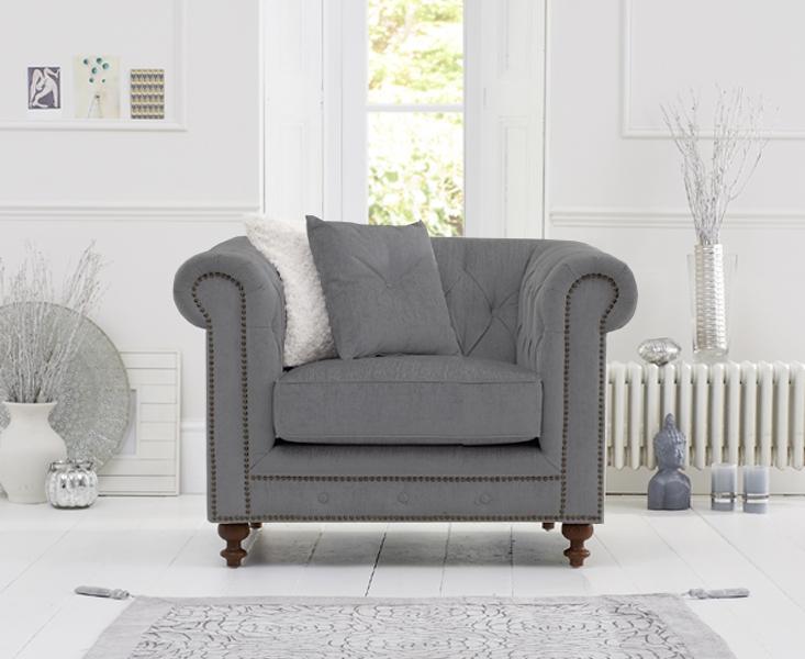 Milano Chesterfield Grey Linen Armchair