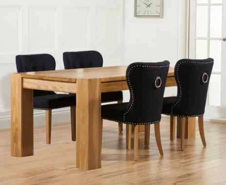 Thames 150cm Oak Dining Table with Knightsbridge Fabric Chairs