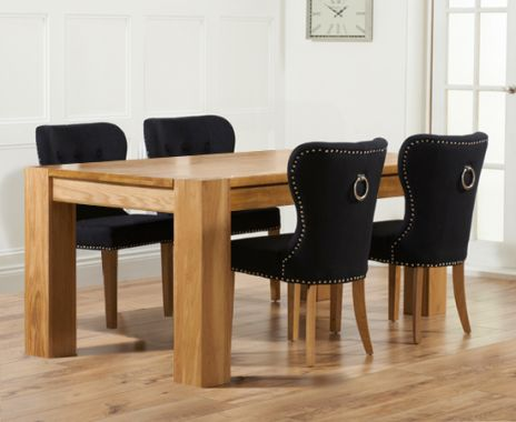 Thames 180cm Oak Dining Table with Knightsbridge Fabric Chairs