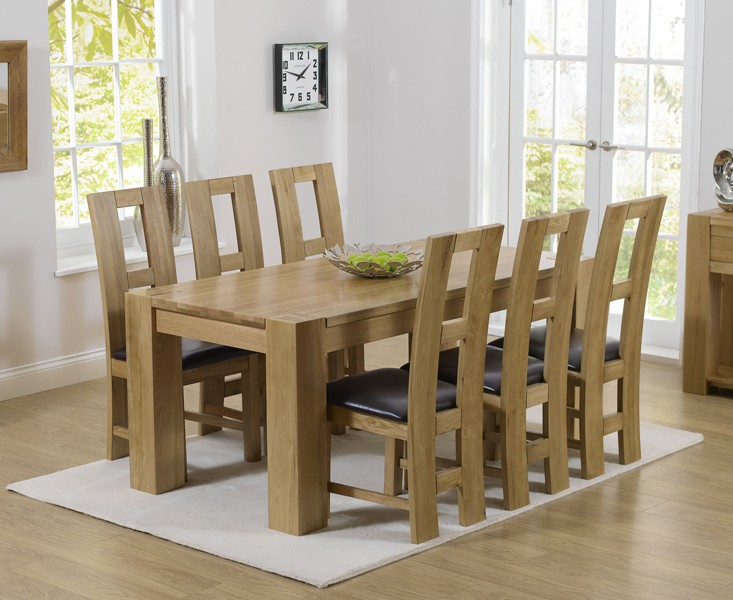 Thames 220cm Oak Dining Table with Louis Chairs