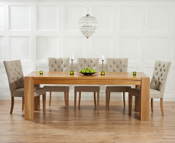 Thames 220cm Oak Dining Table with Anais Fabric Chairs
