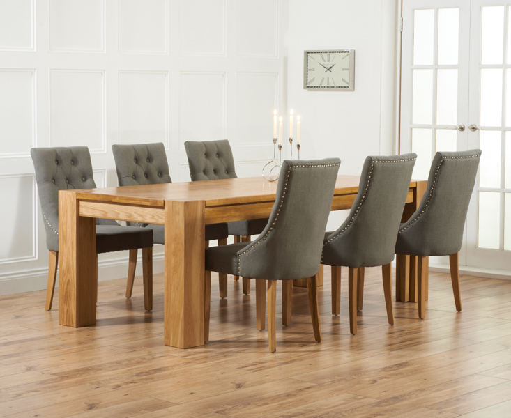 Thames 220cm Oak Dining Table with Pacific Fabric Chairs