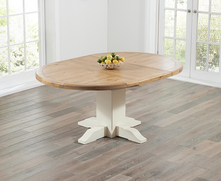 Torino Oak & Cream Extending Pedestal Dining Table