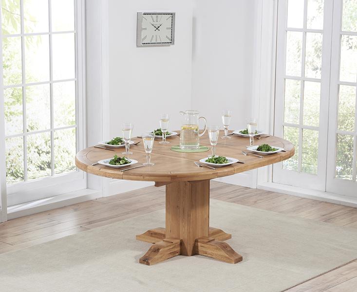Torino Oak Extending Pedestal Dining Table