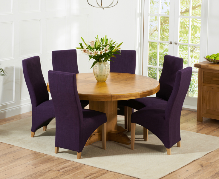Torino 150cm Solid Oak Round Pedestal Dining Table with Henley Fabric Chairs