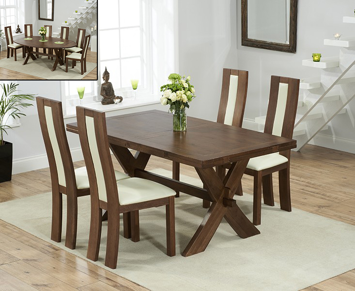 Bordeaux 165cm Dark Oak All Sides Extending Table with 8 Toronto Chairs