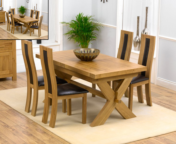 Bordeaux 160cm Solid Oak Extending Dining Table with Toronto Chairs