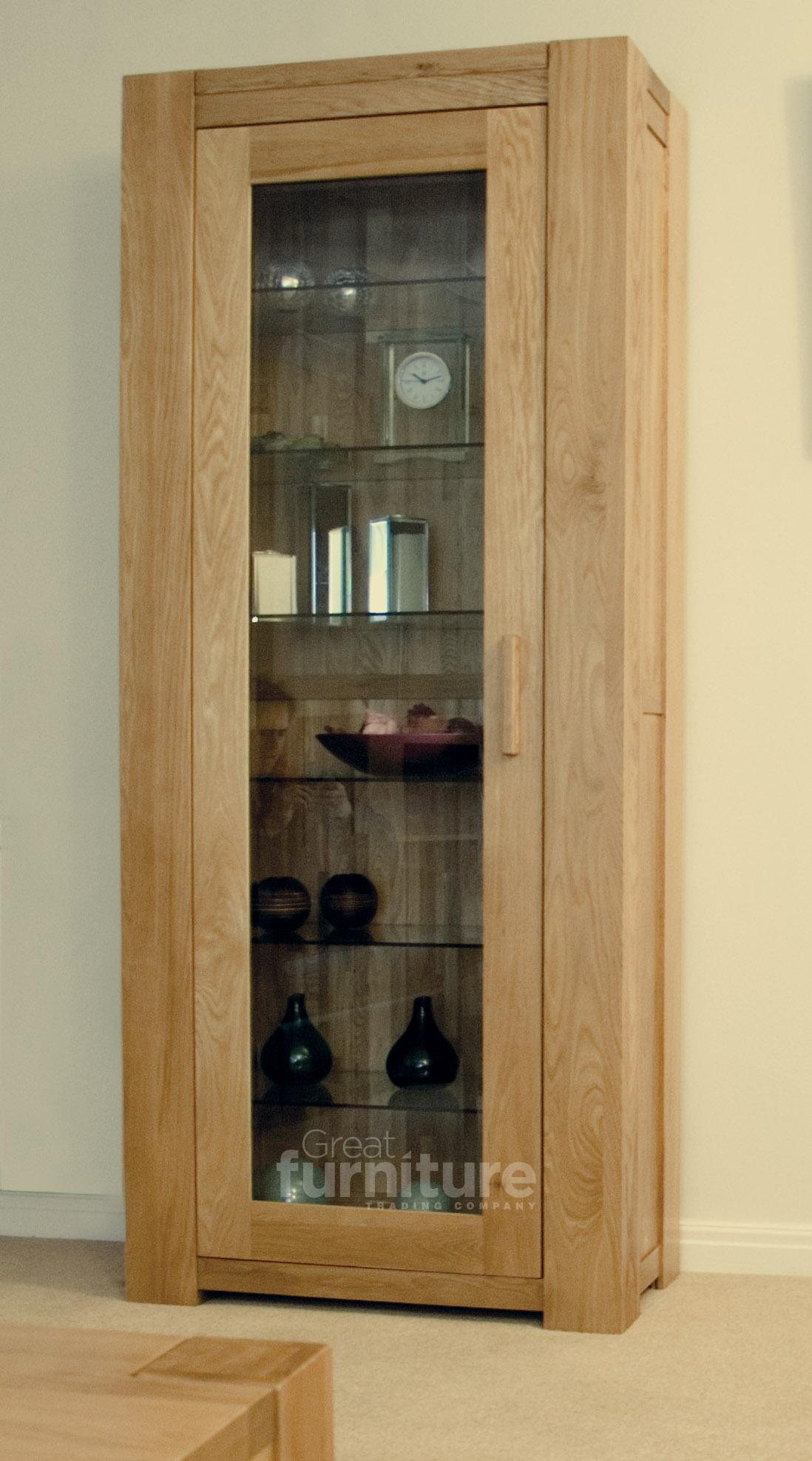 Trend 190cm Oak Glazed Display Cabinet
