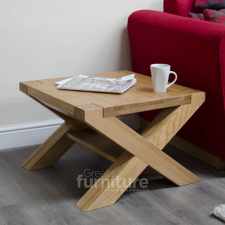 Trend Cross Leg Solid Oak 60cm Square Coffee Table