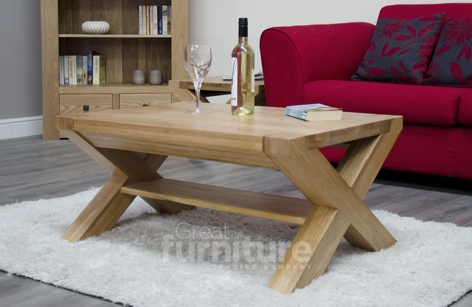 Trend Cross Leg Solid Oak 90cm Coffee Table