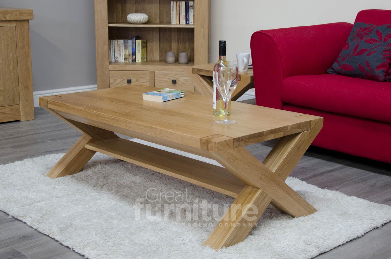 Trend Cross Leg Solid Oak 120cm Coffee Table