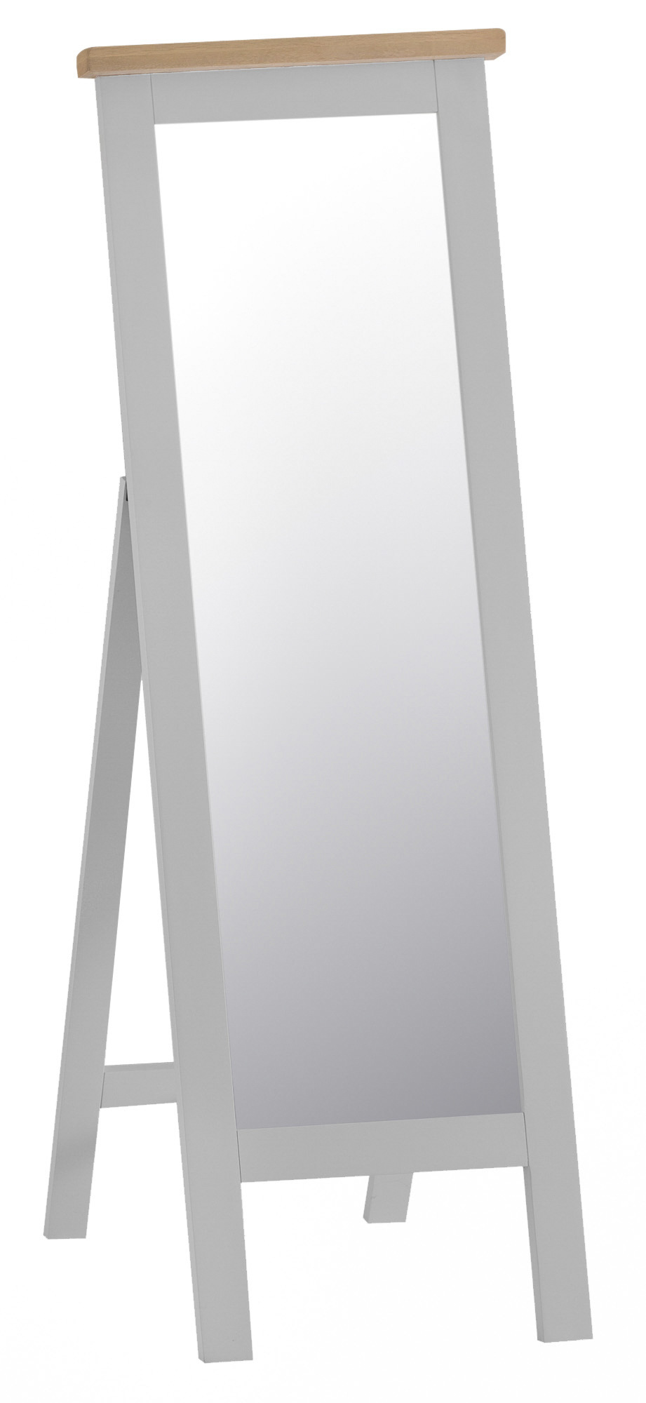 Product photograph showing William Oak And Grey Cheval Mirror