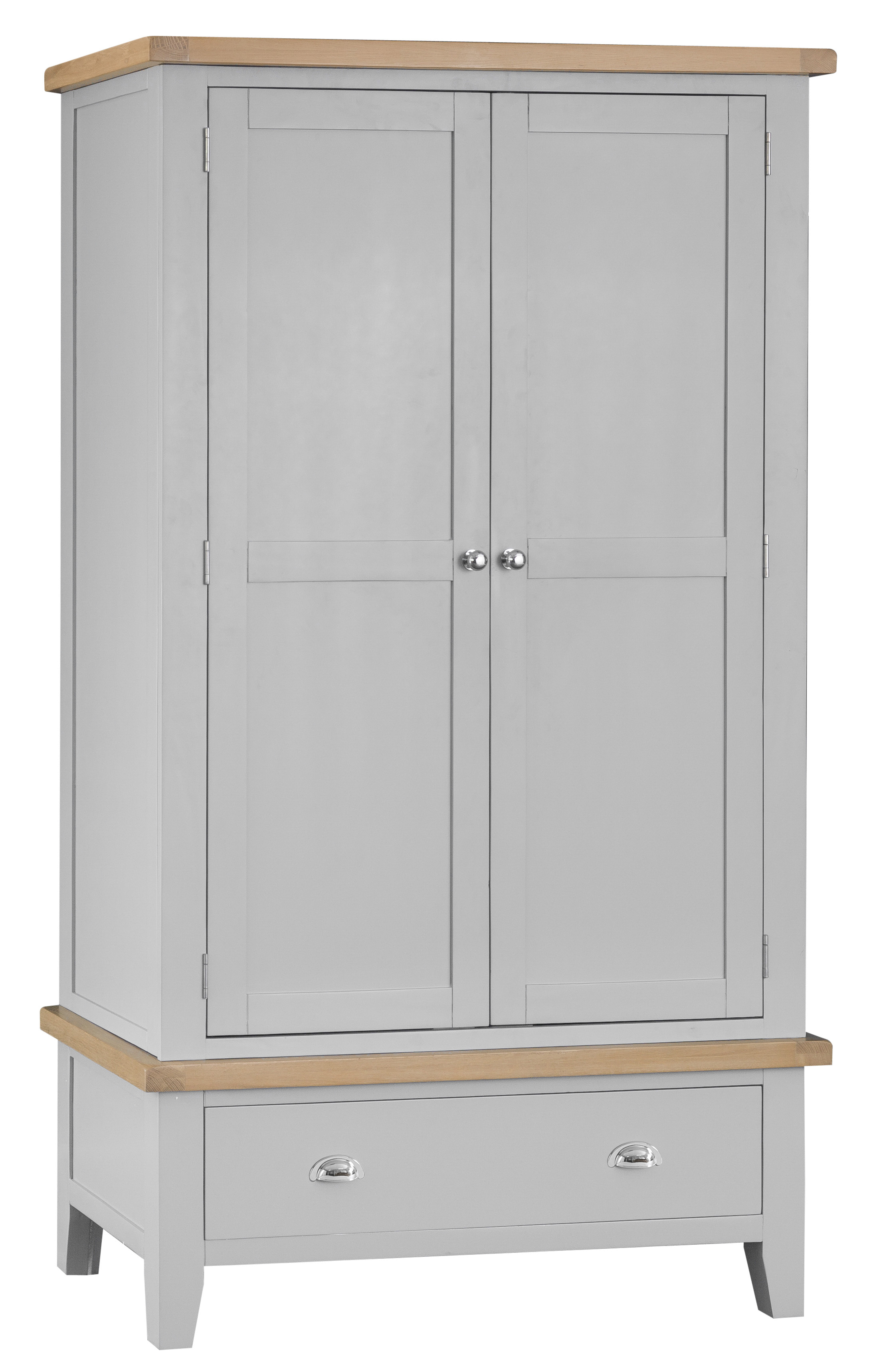 Product photograph showing William Oak And Grey 2 Door 1 Drawer Wardrobe