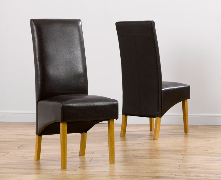 Venezia Brown Faux Leather Dining Chairs (Pair)