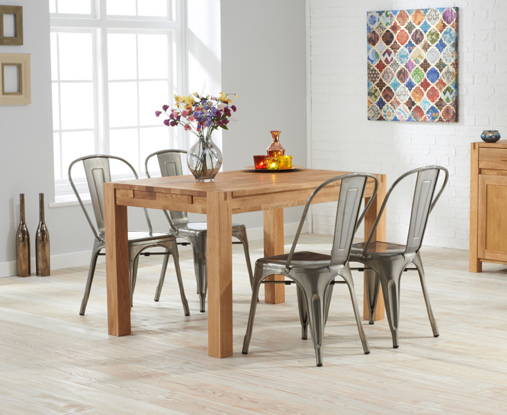 Photo of Verona 120cm solid oak dining table with tolix industrial style dining chairs