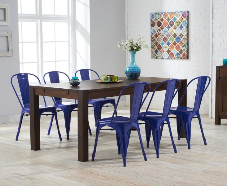 Verona 150cm dark solid oak extending dining table with 8 xavier tolix industrial style metal ...