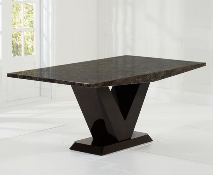 Verbier 180cm Brown V Pedestal Marble Dining Table