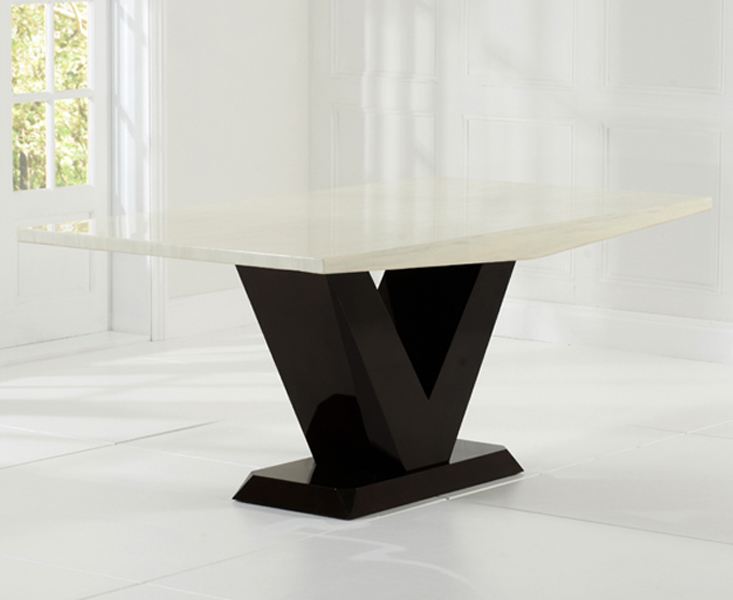 Verbier 180cm Cream and Brown V Pedestal Marble Dining Table