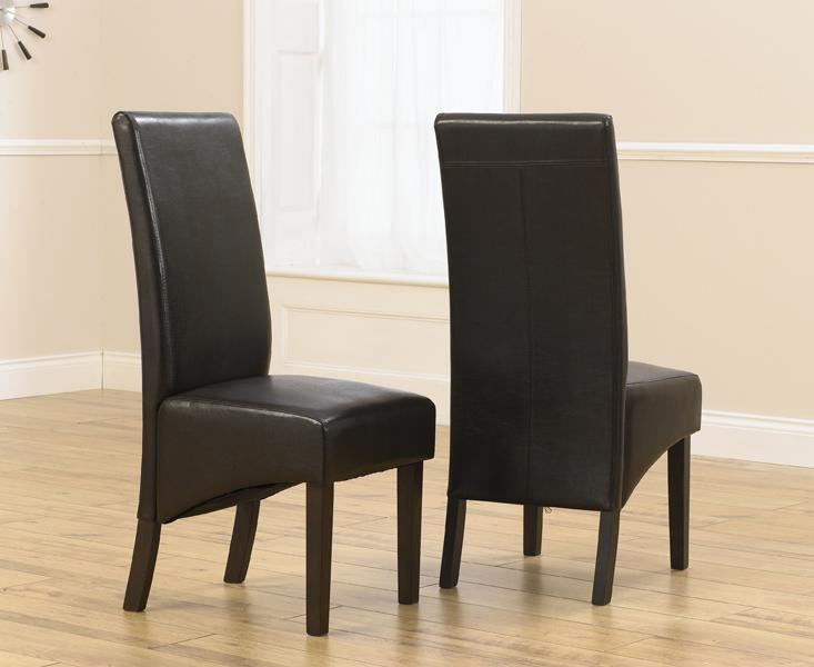 Dakota Brown Dark Oak Faux Leather Dining Chairs