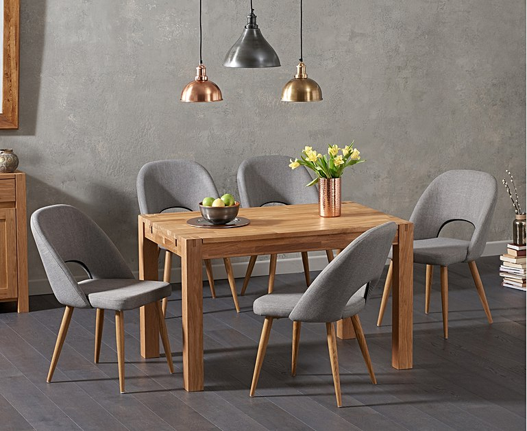 An image of Verona 120cm Solid Oak Dining Table with Harrogate Fabric Chairs