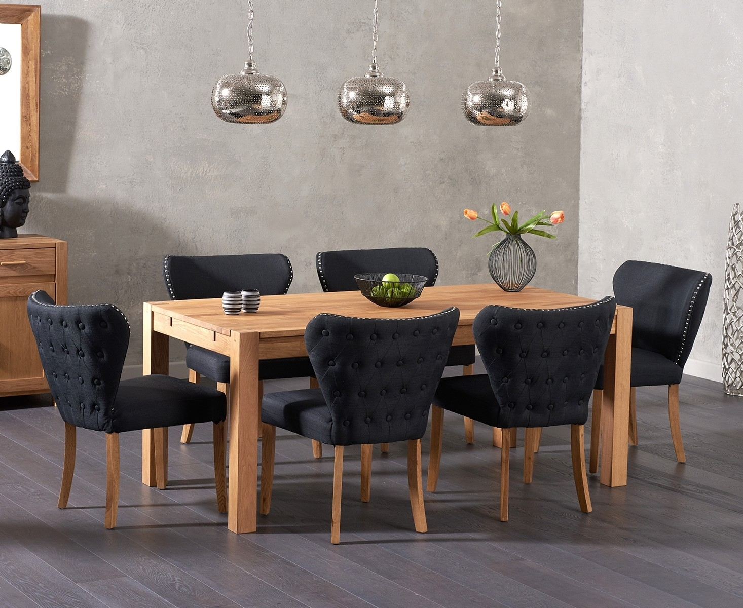 An image of Verona 150cm Solid Oak Table with Imogen Fabric Chairs