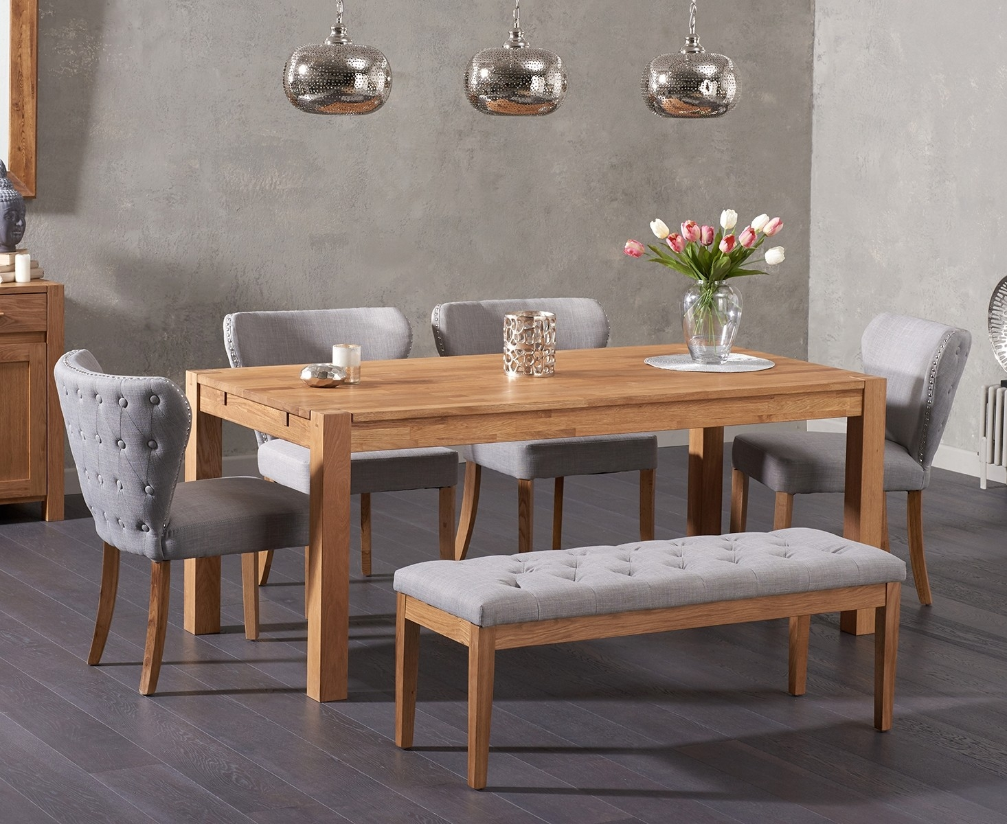 An image of Verona 150cm Solid Oak Dining Table and Imogen Fabric Chairs and Cora Grey Fabri...