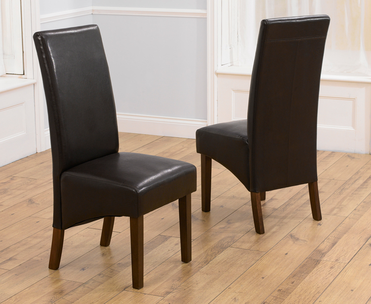 WNG Brown Dark Faux Leather Dining Chairs