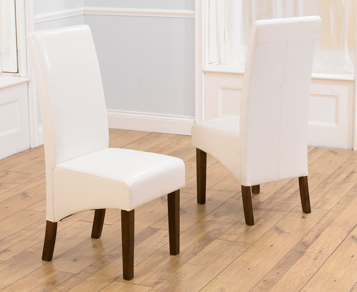WNG Ivory White Dark Faux Leather Dining Chairs