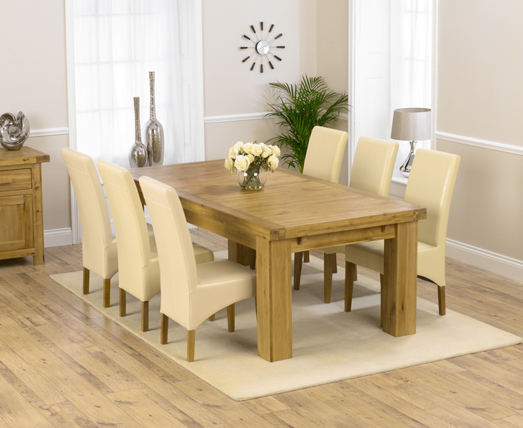 Loire 230cm Solid Oak Extending Dining Table with Cannes Chairs