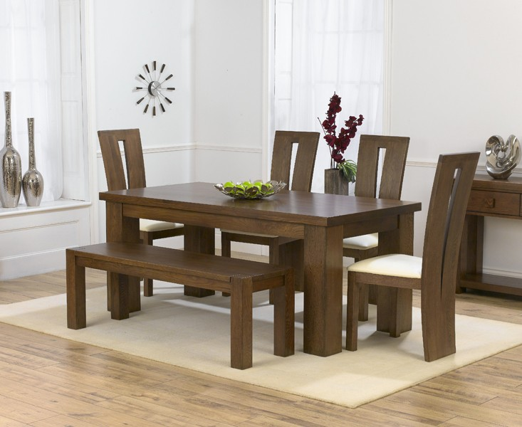 Photo of Kentucky dark 180cm oak dining table with cream dark montreal chairs & bench