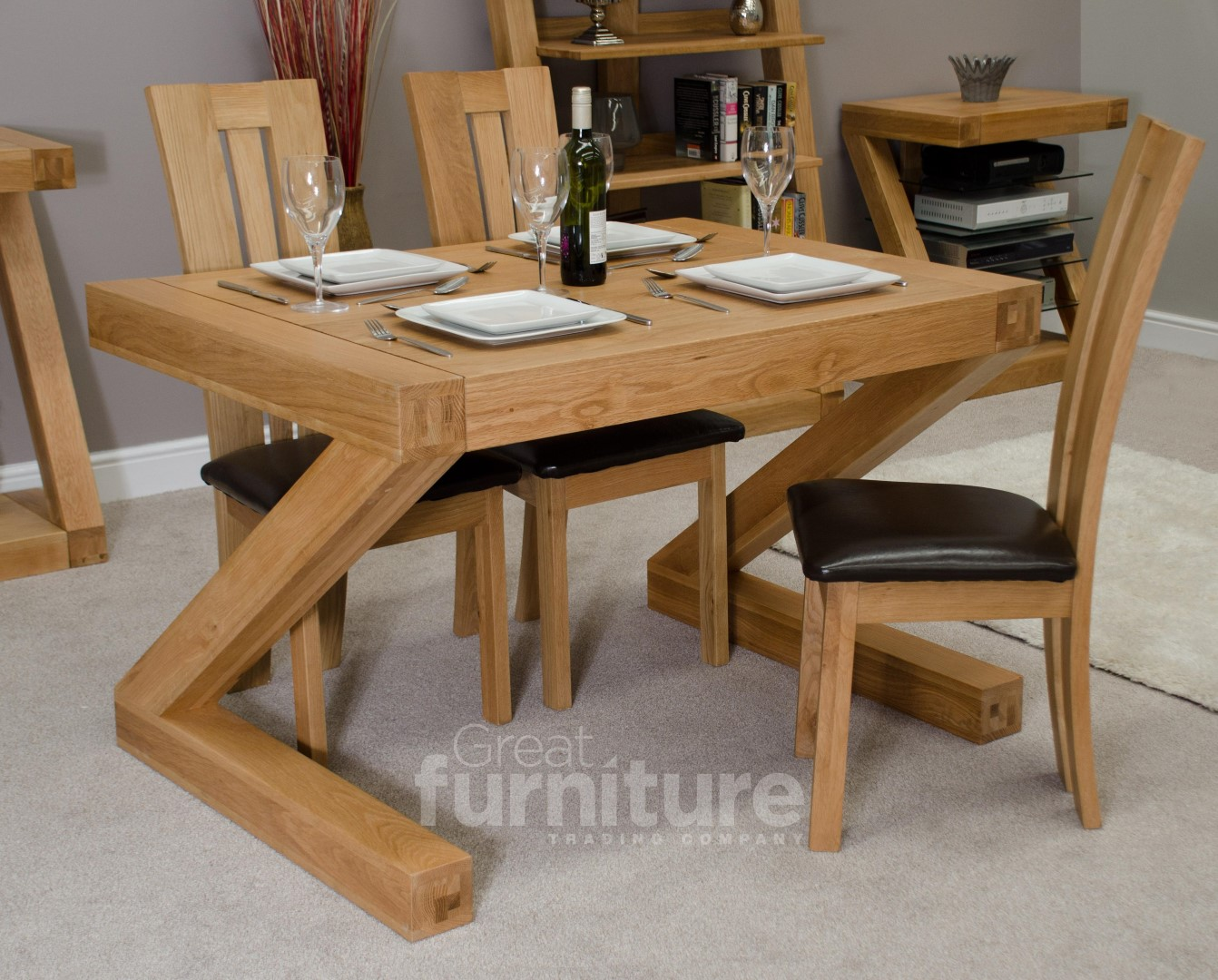 Wooden dining chairs with cushion - Z Solid Oak 120cm Dining Table Cushion Dining Room Furniture
