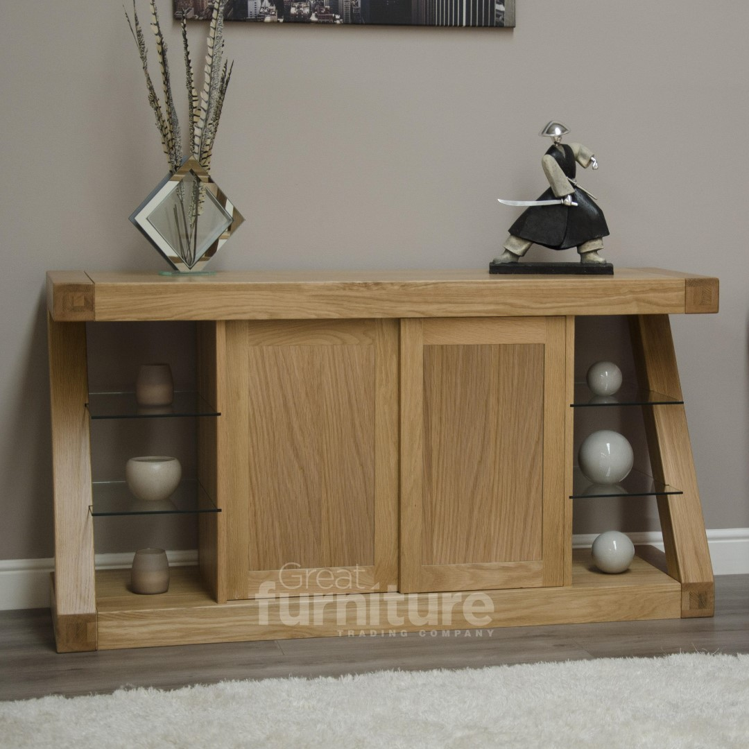 Z Solid Oak Designer Large Sideboard